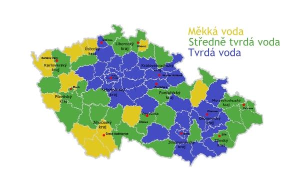 Mapa tvrdosti vody ČR